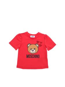 Moschino Kids - Teddy Bear T-shirt in red with hearts print