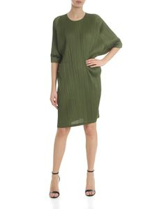 PLEATS PLEASE Issey Miyake - Ruched dress in green