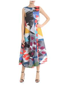 PLEATS PLEASE Issey Miyake - Flared dress in multicolored ruffled fabric