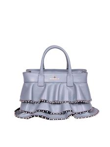 Borbonese - Shopping small bag in dust color leather with studs