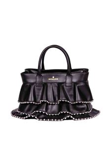 Borbonese - Shopping small bag in black leather with studs
