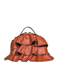 Borbonese - Sexy medium bag in tan-color leather with studs