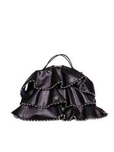 Borbonese - Sexy medium bag in black leather with studs