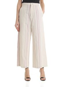 Y's Yohji Yamamoto - Ivory trousers with pink and black stripes