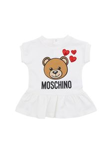 Moschino Kids - Teddy Bear and hearts dress in white