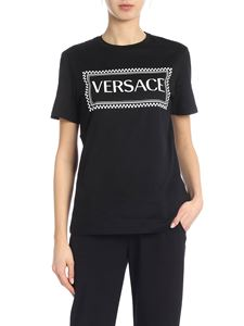Versace - Black T-shirt with contrast logo