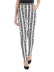 Balmain - Striped trousers with Balmain logo