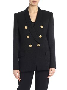 Balmain - Lamé double-breasted jacket in black