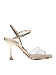 Prada - Sandals in golden leather and Plexi