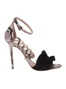 Paula Cademartori - Reptile effect leather sandals with pearls