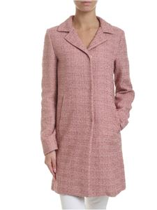 Herno - Bouclé coat in pink with lamé inserts