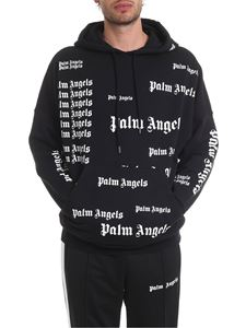 Palm Angels - Felpa stampe logo all-over nera