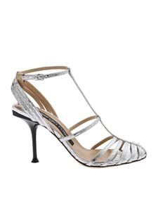 Sergio Rossi - Mirrored leather sandals in silver