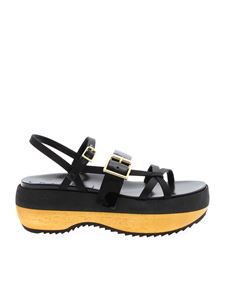 Marni - Platform sandals in black and yellow