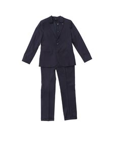 Emporio Armani - Cotton suit in blue for baby boys