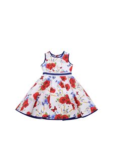 Monnalisa - Poppies printed dress in white