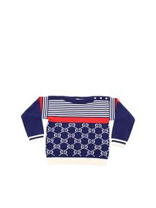 Gucci - Pullover with GG motif in blue and white