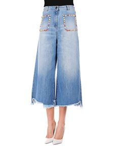 Elisabetta Franchi - Flared cropped jeans in light blue