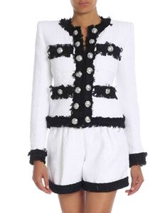 Balmain - White and black tweed cropped jacket
