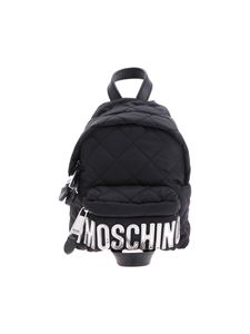 Moschino - Mini backpack with tone-on-tone logo in silver