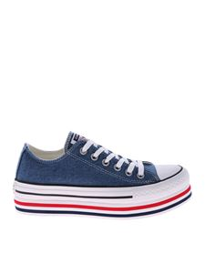 Converse - Blue denim Ctas Platform Layer Ox sneakers