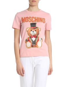 Moschino - T-shirt in jersey Teddy Circus rosa