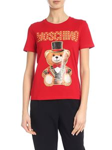 Moschino - T-shirt in jersey Teddy Circus rossa
