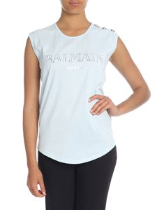 Balmain - Light blue top with Balmain Paris logo print