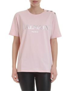 Balmain - Pink T-shirt with silver logo