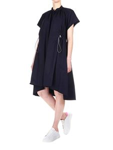 Eleventy - Dress in navy blue cotton with waist drawstring