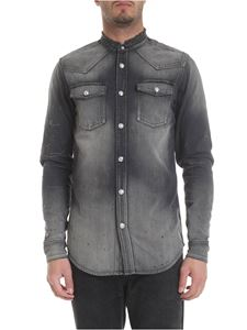 Balmain - Black denim shirt with Signature logo embroidery