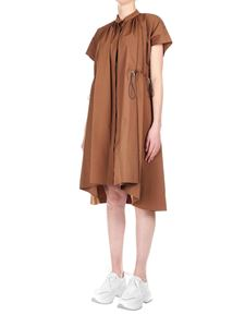 Eleventy - Dress in brown cotton with waist drawstring