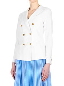 Eleventy - Double-breasted blazer in white with golden buttons