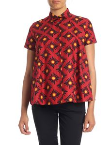 Aspesi - Oversize shirt in burgundy with floral print