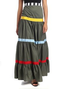 Stella Jean - Flounced skirt in green with colored stripes