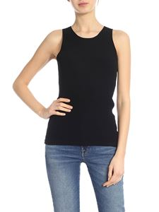 Helmut Lang - Knitted top with drawstring in black