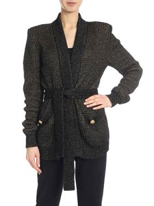 Balmain - Cardigan in black and lamé gold