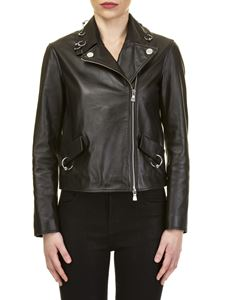 Moschino Boutique - Black nappa jacket with piercing insert