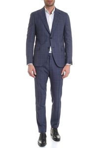 Lardini - Tartan wool suit in blue