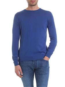 Kangra Cashmere - Crewneck pullover in blue silk and cotton