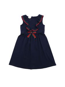Gucci - Blue cotton dress with bow embellishment