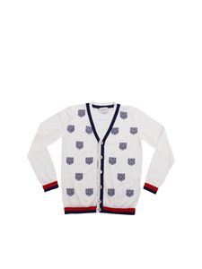 Gucci - White wool cardigan with Tiger embroidery