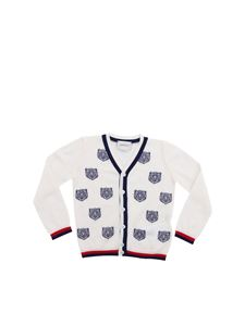 Gucci - White cardigan with Gucci Tiger embroidery