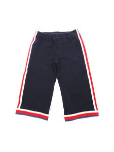 Gucci - Blue cotton trousers with contrasting trim