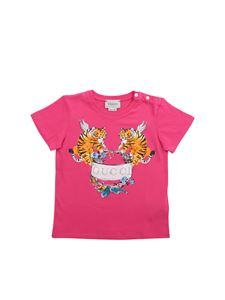 Gucci - Bright pink T-shirt with Tiger print