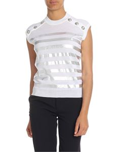 Balmain - Metallic white striped top