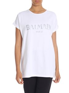 Balmain - White oversize T-shirt with Balmain logo