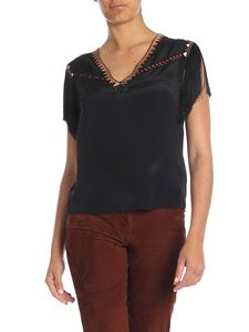 Alberta Ferretti - Black top with fringes and beads embellishment