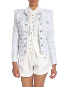 Balmain - Pink, light blue and white tweed jacket