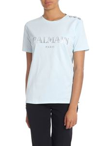 Balmain - Light blue T-shirt with Balmain Paris logo